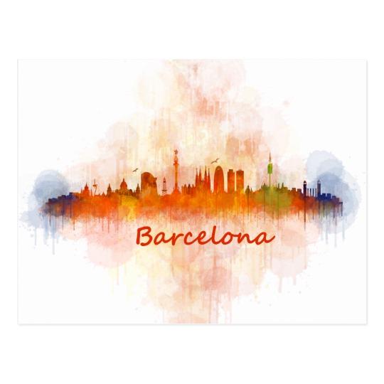 540x540 Barcelona Watercolor Skyline V04 Barcelona Watercolor Skyline V04