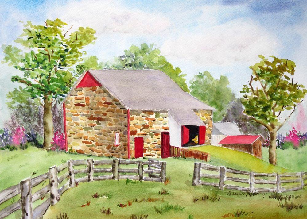 1000x714 Stone Barn In Blooming Glen, Original Watercolor, Barns, Bucks