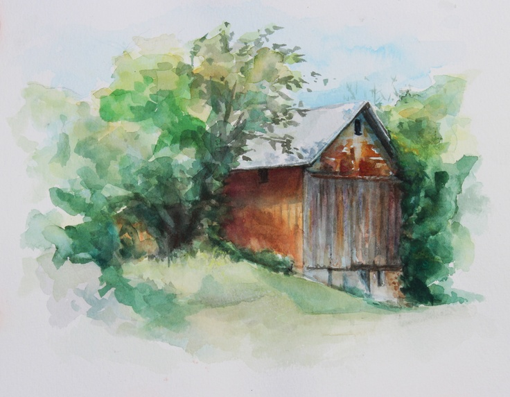 Watercolor Barn Paintings