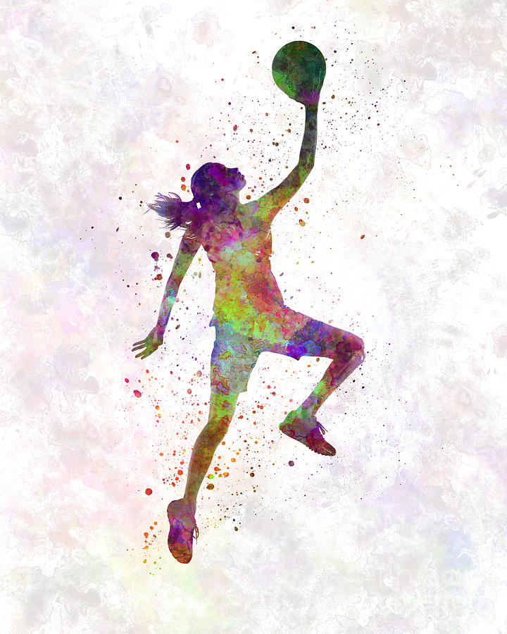 720x900 Young Woman Basketball Player 02 In Watercolor Painting By Pablo