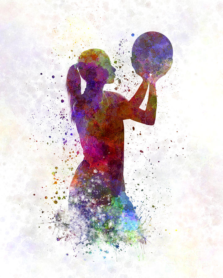 720x900 Young Woman Basketball Player 03 In Watercolor Painting By Pablo