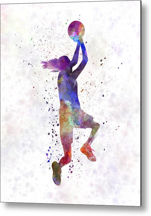 494x707 Young Woman Basketball Player 05 In Watercolor Metal Print By