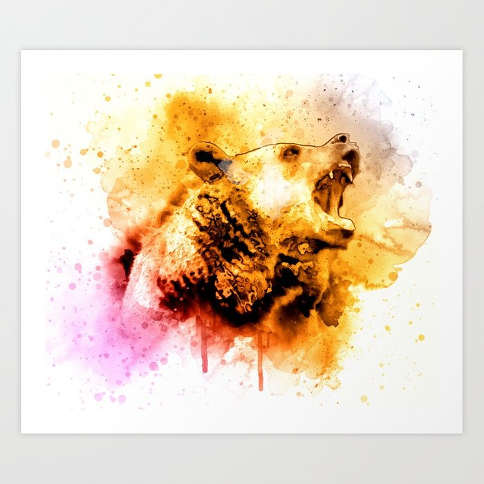 700x700 Watercolor Bear, Roaring Bear, Rustic Bear Art., Cabin Decor Art
