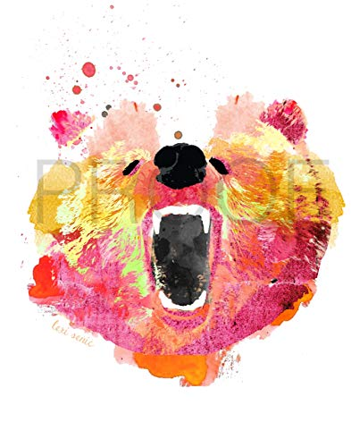393x500 Roaring Bear Watercolor 11x14 Print Bear Print