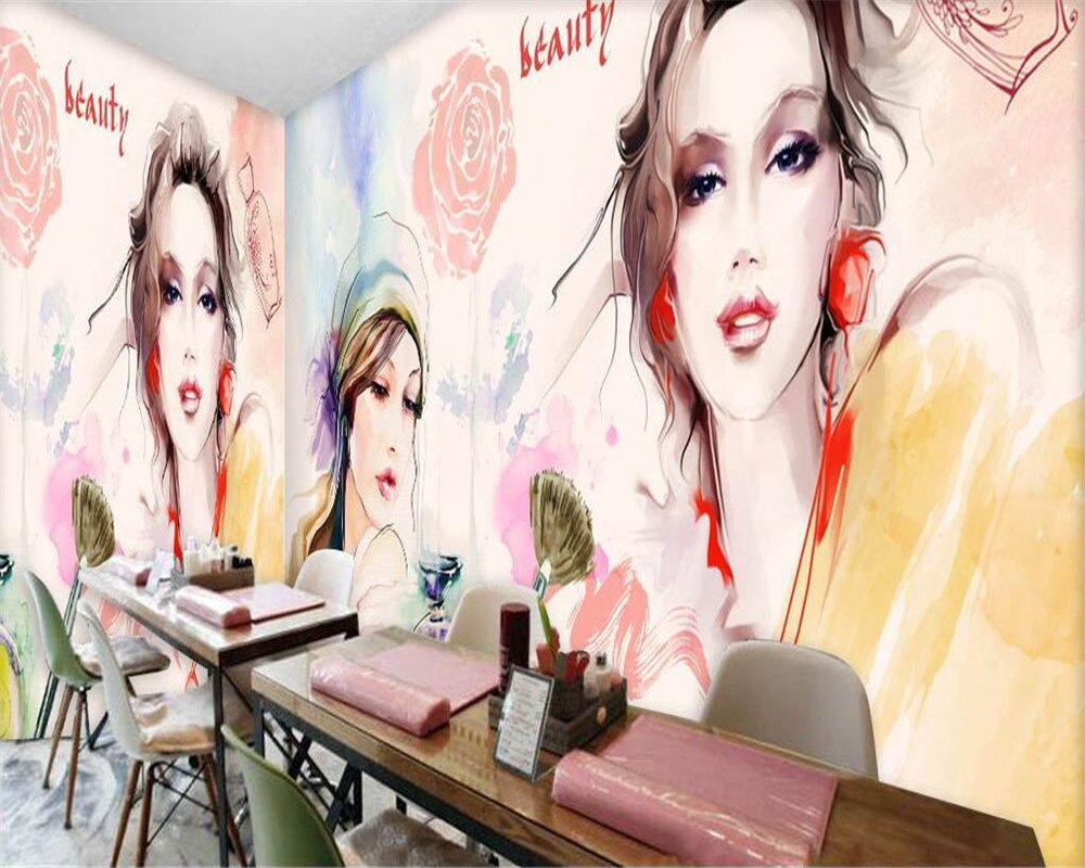 1000x800 Beibehang Custom Wallpaper Watercolor Beauty Beauty Shop Nail Shop