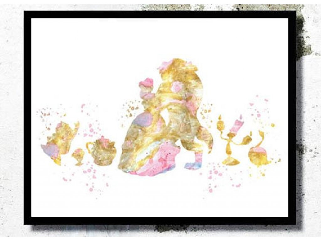 1024x768 Beauty And The Beast Print Beauty And The Beast Watercolor Disney