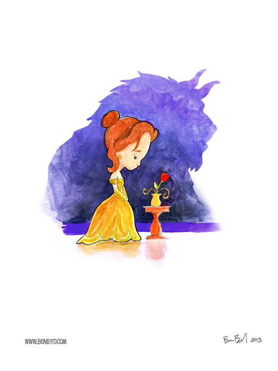 570x760 Beauty And The Beast Watercolor Disney, Rapunzel And Beauty And