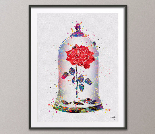540x467 Cursed Rose, Enchanted Rose, Watercolor Print, Beauty And The