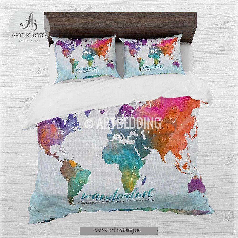 Watercolor Bedding at GetDrawings.com | Free for personal ... on world map silhouette cameo, world map headboard, world map side table, world map coverlet, world map women's clothes, world map bedding set,