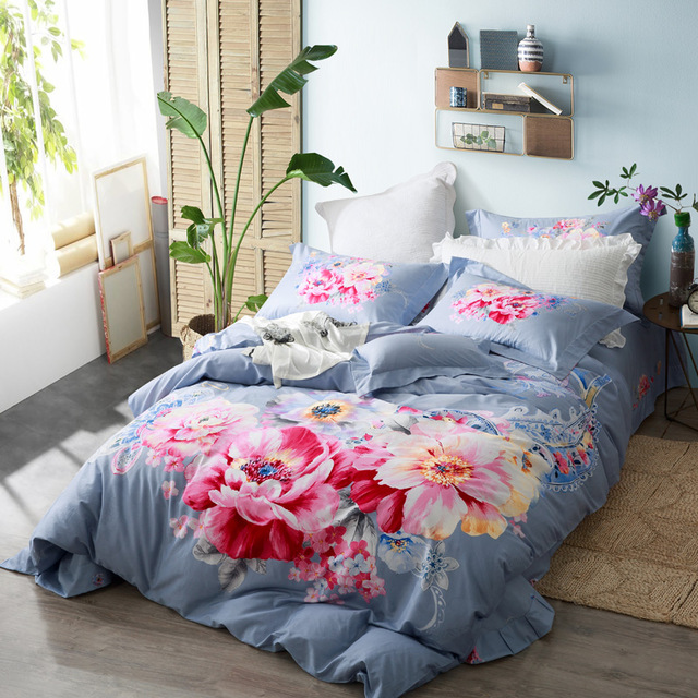 640x640 Buy Watercolor Flowers Skyblue Bedding Set Queen