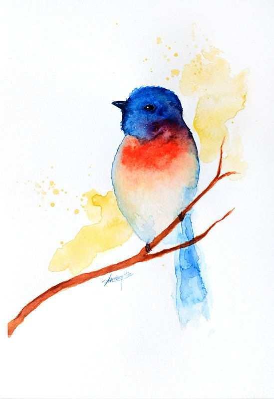 Watercolor Bird Abstract