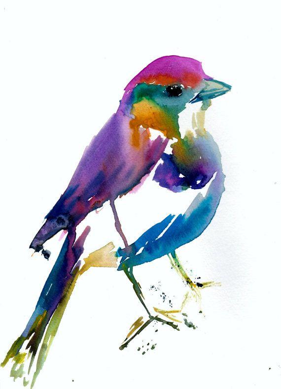 570x790 Colorful Bird Print, Print Of Bird, Watercolor Bird Print