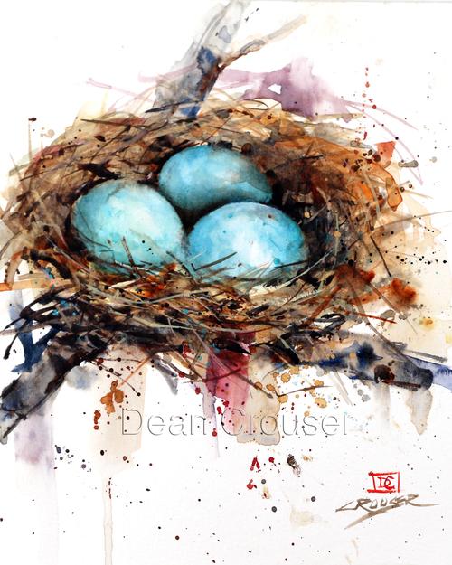 Watercolor Birds Nest