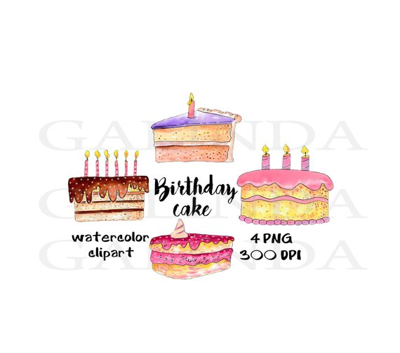 570x502 Birthday Cake Clipart Watercolor Etsy