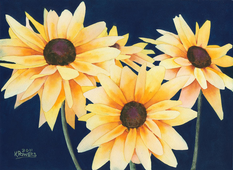 900x657 Black Eyed Susans 2 Painting By Ken Powers