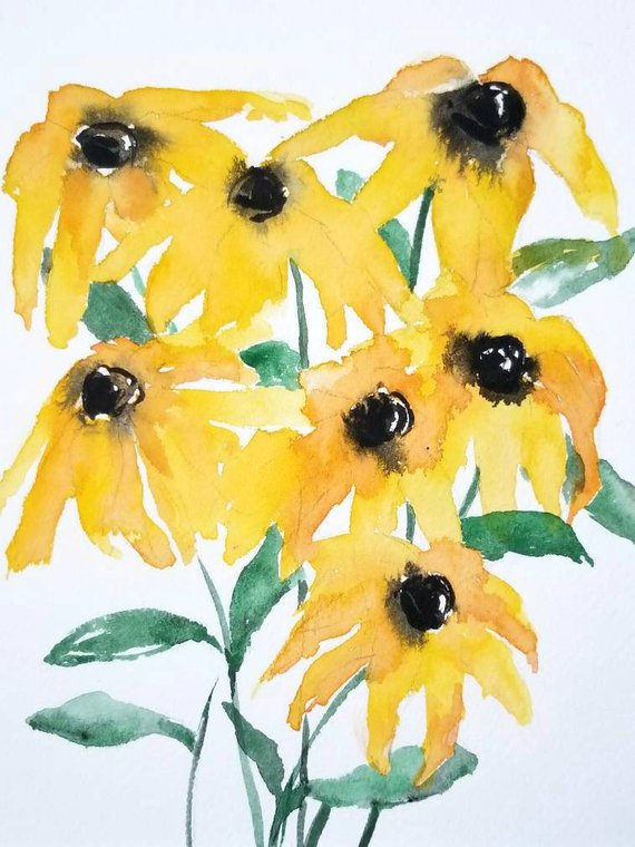 570x760 Black Eyed Susans Original Watercolororiginal Yellow Etsy