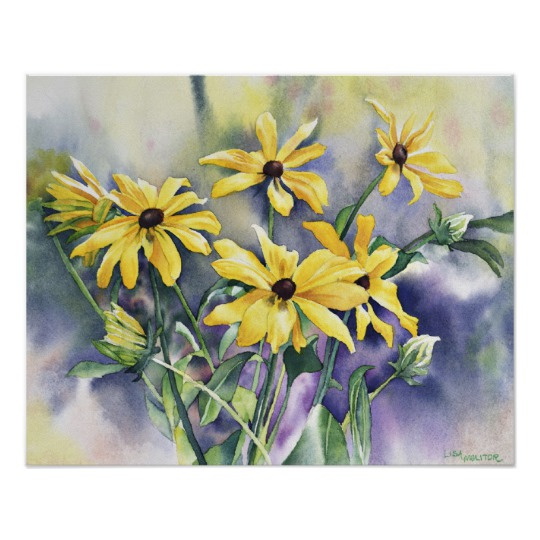 540x540 Blackeyed Susan Watercolor Painting Poster