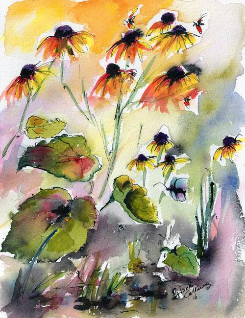 500x650 Flowers Black Eyed Susans Watercolor And Ink By Ginette Callaway