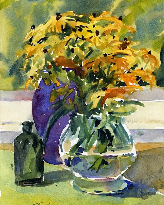 541x675 Vase Of Black Eyed Watercolor Still Life Painting