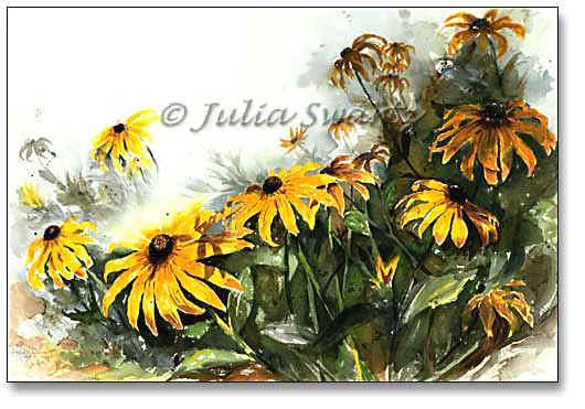 530x371 Watercolor Painting Of Black Eyed Susan Flowers