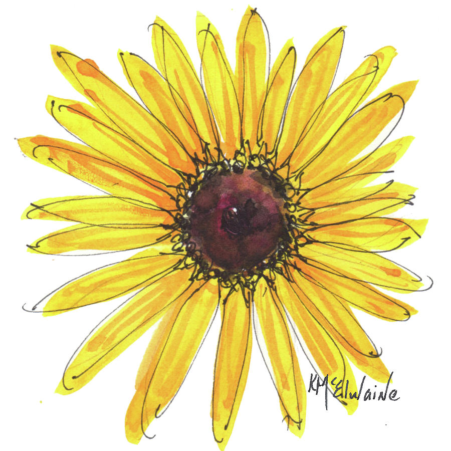 900x900 Black Eyed Susan Watercolor Painting By Kmcelwaine Painting By