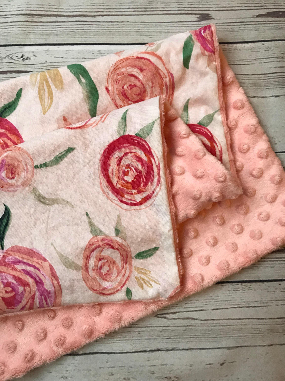 2250x3000 Floral Baby Blanket, Baby Girl Blanket, Pink Baby Blanket, Coral