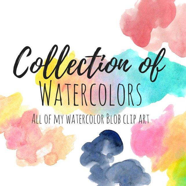 642x642 Watercolor Clip Art Watercolor Blob Clip Art Watercolor Etsy