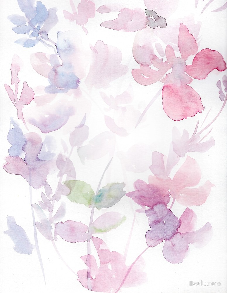 776x1000 Blooming Purple Layered Watercolor Blooms By Ilze Lucero Redbubble