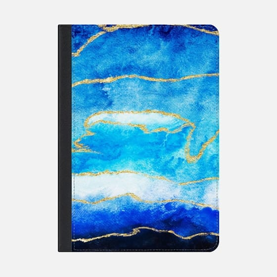 560x560 Modern Faux Gold Foil Navy Blue Ombre Watercolor Casetify