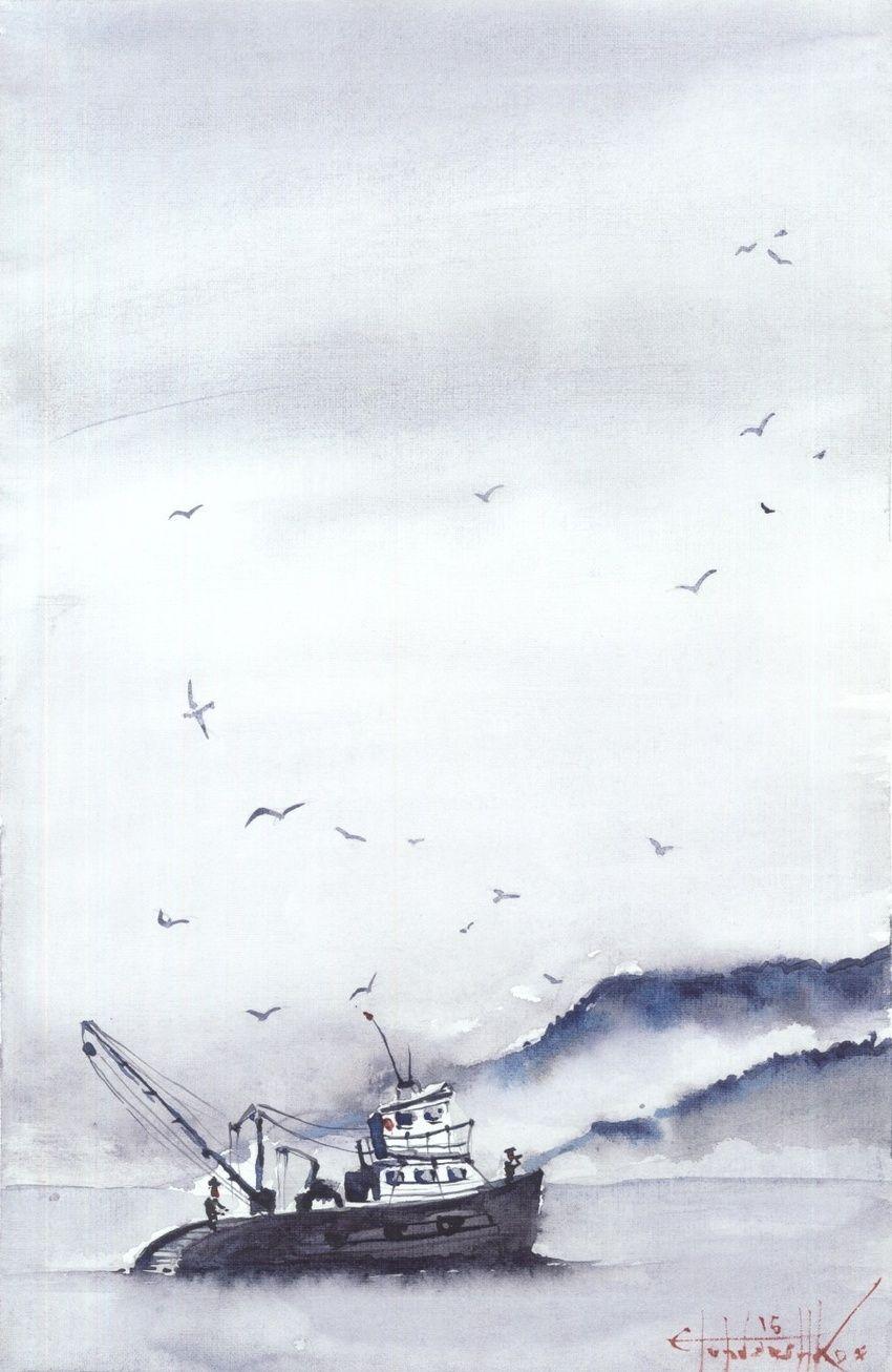 850x1306 Fishing Boat Paintings By Eugene Gorbachenko