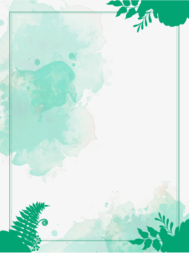 650x868 Green Watercolor Border, Summer Border, Green Hand Painted Border