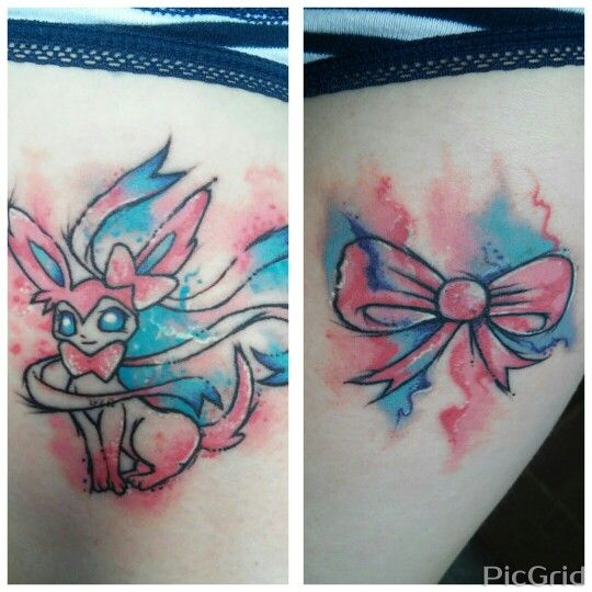 540x540 Pokemon Sylveon And Bow Watercolor Matching Thigh Tattoos