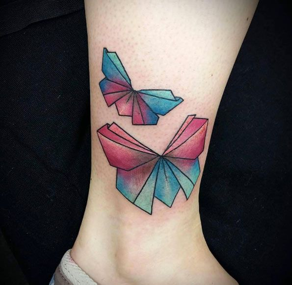 595x581 61 Beautiful Origami Inspired Tattoo Designs Origami
