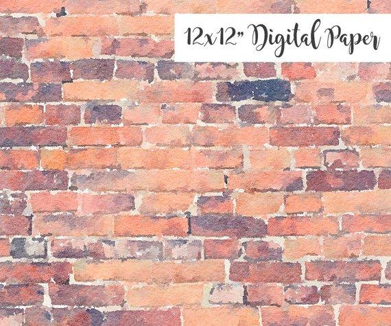 570x475 Digital Paper Brick Texture 12x12 Watercolor Digital Etsy