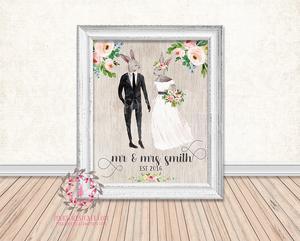 300x241 Bunny Rabbit Personalized Bride Groom Wedding Shower Gift