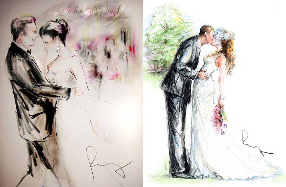 1000x655 Custom Wedding Illustrations Bride And Groom Portraits