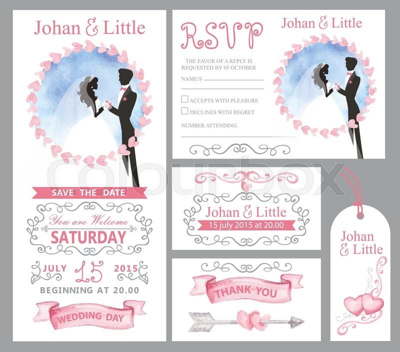 800x704 Watercolor Wedding Invitation Card Pink Hearts,couple Bride,groom