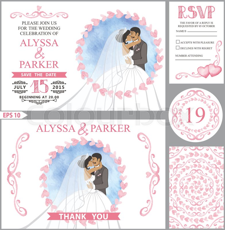 784x800 Wedding Invitation Card Set.kissing Couple Bride,groom With Hug