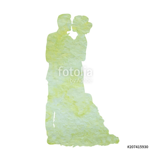500x499 Icon, Watercolor Silhouette Of The Bride And Groom, Isolated On