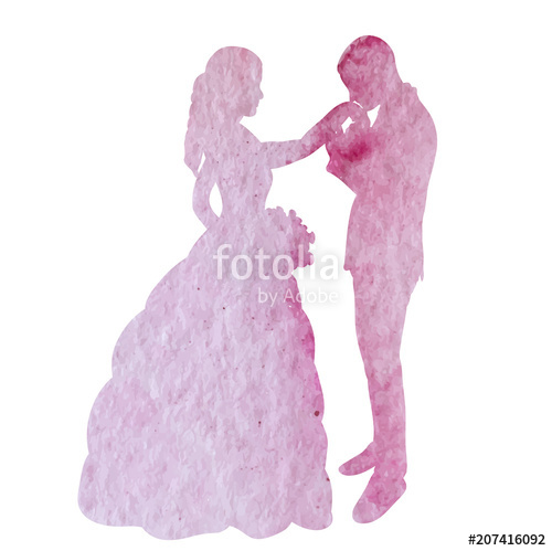 500x499 Icon, Watercolor Silhouette Of The Bride And Groom Stock Image