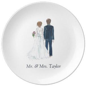 307x307 Bride And Groom Plates Zazzle Uk
