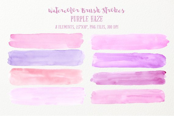 570x380 Watercolor Brush Strokes Purple Haze Large Pink And Purple Etsy