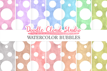 350x233 Watercolor Bubbles Digital Paper, Dotted Pattern, Digital Dots. Tpt