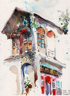 Watercolor Building Painting