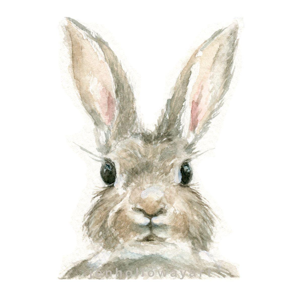 1200x1200 Watercolor Rabbit, Rabbit Print, Bunny Print, Animal Print, Rabbit