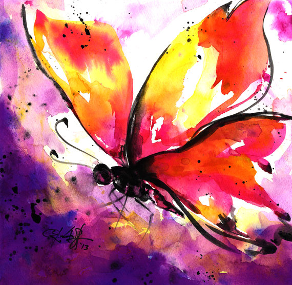 570x556 Butterfly Watercolor Painting, Pink, Purple, Yellow, Purple