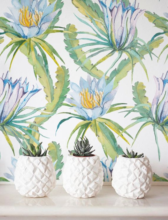 570x745 Watercolor Cactus Wallpaper Removable Wallpaper Etsy
