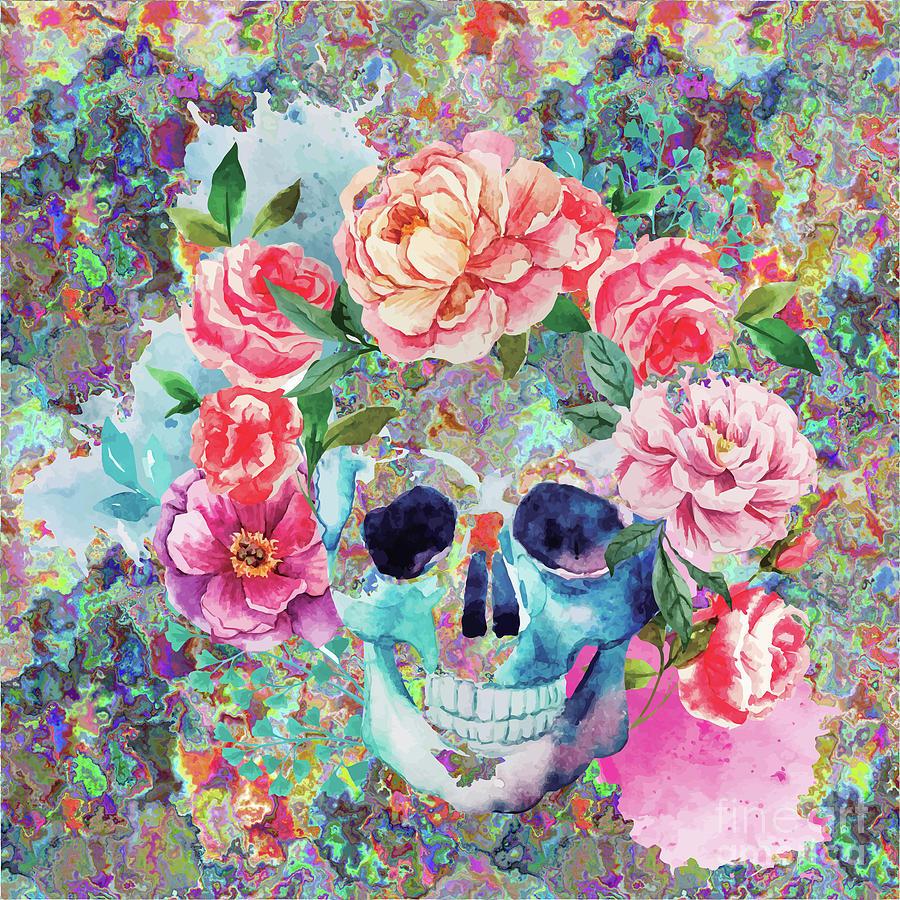 900x900 Day Of The Dead Watercolor Digital Art By Digital Art Cafe