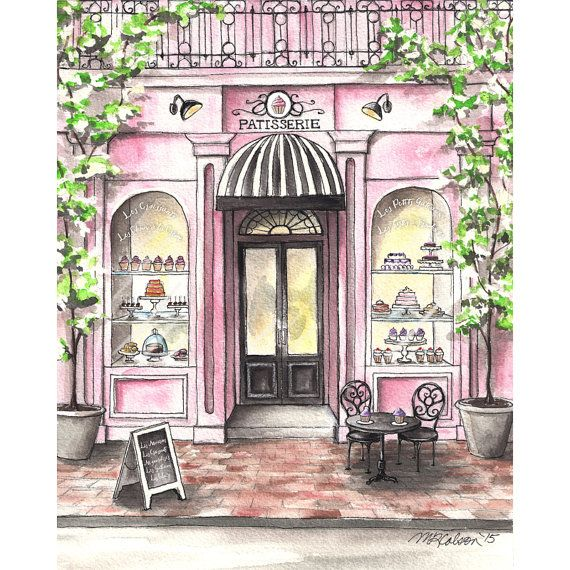570x570 French Patisserie Watercolor Print, French Bakery, Paris Cafe, 5x7