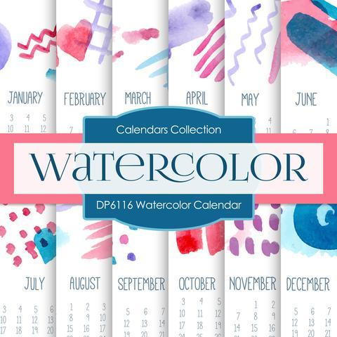 480x480 Watercolor Calendar Digital Paper Dp6116 Digital Paper Shop